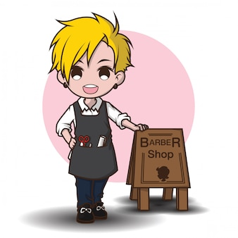 Personagem de desenho animado bonito do barbeiro.