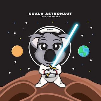 Personagem de desenho animado bonito do bebê astronauta coala segurando um sabre de luz