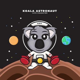 Personagem de desenho animado bonito do bebê astronauta coala usando luvas de boxe