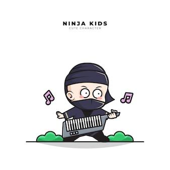 Personagem de desenho animado bonito do bebê ninja tocando guitarra no teclado e piano