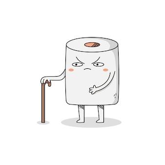 Personagem de desenho animado bonito do vovô toiler paper com bengala
