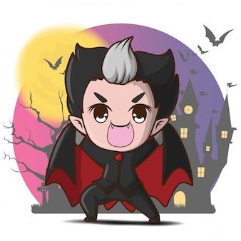 Personagem de desenho animado bonito drácula com lua cheia