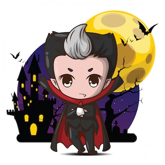 Personagem de desenho animado bonito drácula na lua cheia.