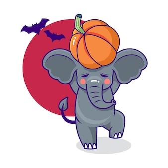 Personagem de desenho animado bonito e divertido de elefante com tema de halloween com morcegos e abóboras
