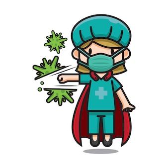 Personagem de desenho animado bonito enfermeira herói bater vírus de corona