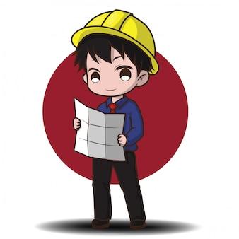 Personagem de desenho animado bonito engenheiro.