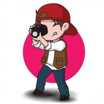 Personagem de desenho animado bonito fotógrafo.