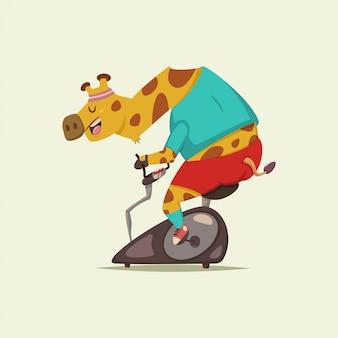 Personagem de desenho animado bonito girafa fazendo exercício em uma bicicleta estacionária