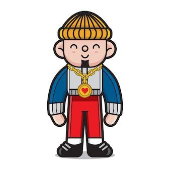 Personagem de desenho animado bonito hiphop