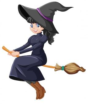 Personagem de desenho animado bonito jovem bruxa