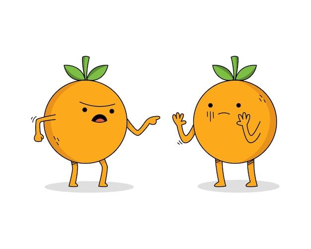Personagem de desenho animado bonito laranja discutindo