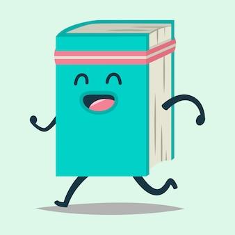 Personagem de desenho animado bonito livro feliz fazendo esportes correndo.