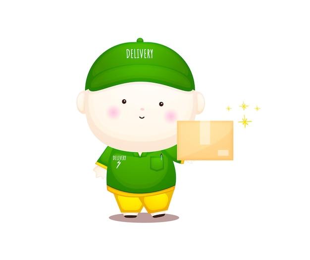 Personagem de desenho animado bonito mascote do entregador vector premium