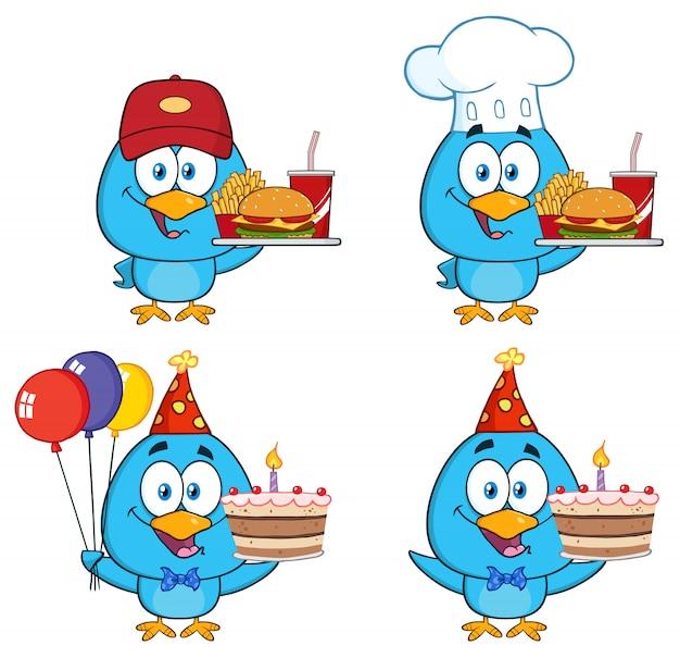 Personagem de desenho animado bonito pássaro azul