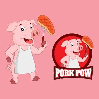 Personagem de desenho animado bonito porco em roupas de chef grelhando carne