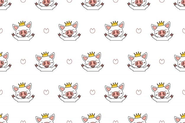 Personagem de desenho animado bonito porco sem costura de fundo