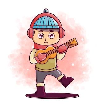 Personagem de desenho animado bonito tocando guitarra ilustração