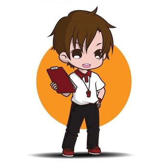 Personagem de desenho animado bonito treinador.