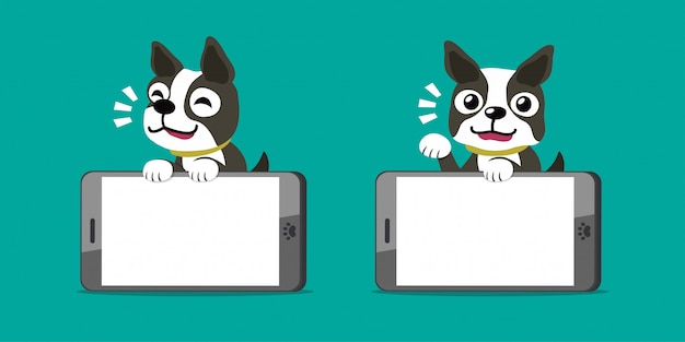 Personagem de desenho animado boston terrier cachorro e smartphones