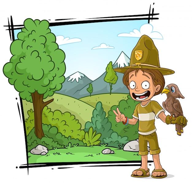 Personagem de desenho animado boycout de guarda florestal com papagaio