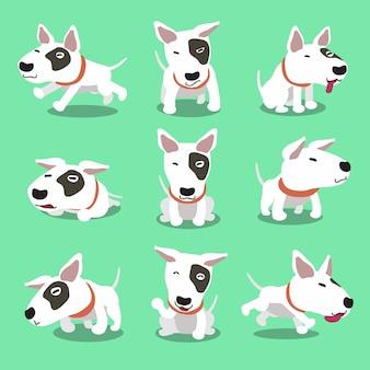 Personagem de desenho animado bull terrier poses de cão