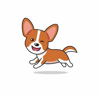 Personagem de desenho animado cachorro corgi feliz correndo
