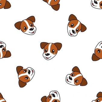 Personagem de desenho animado cachorro fofo sem costura de fundo