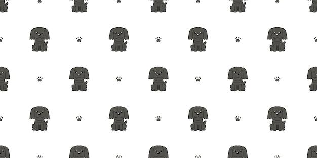 Personagem de desenho animado cachorro preto sem costura de fundo