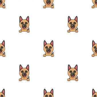 Personagem de desenho animado cão de pastor alemão sem costura de fundo