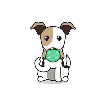 Personagem de desenho animado cão fox terrier usando máscara protetora
