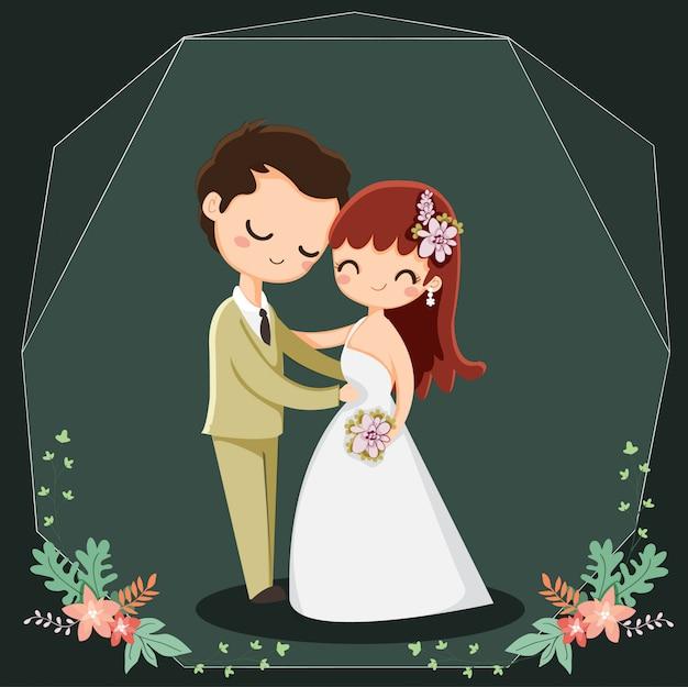 Personagem de desenho animado casal fofo para convites de casamento