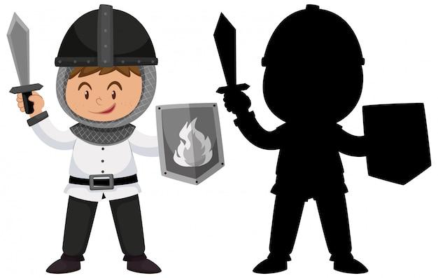 Personagem de desenho animado cavaleiro fofo com sua silhueta