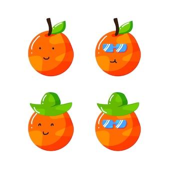 Personagem de desenho animado cítrico laranja bonito com chapéu e óculos de sol em estilo desenhado à mão plana