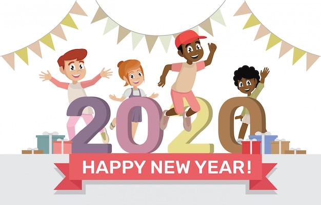 Personagem de desenho animado coloca feliz ano novo 2020