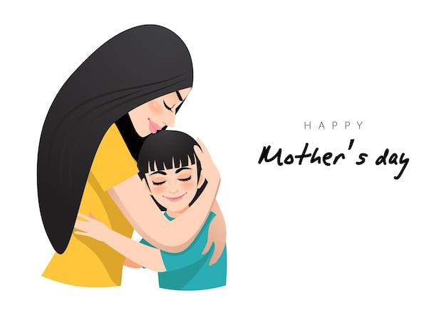 Personagem de desenho animado com abraço de mãe e filha. ilustração do dia das mães