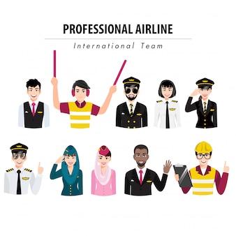 Personagem de desenho animado com bandeira de meio corpo de ação de tripulação de aeroporto, equipe de companhia aérea profissional em ilustração uniforme, plana