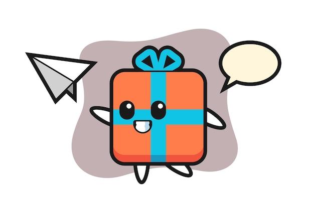 Personagem de desenho animado com caixa de presente jogando avião de papel