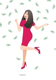 Personagem de desenho animado com empresária feliz pulando rodeado por notas de dinheiro verdes caindo sobre fundo branco. conceito de negócio de sucesso