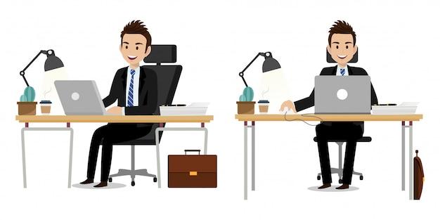 Personagem de desenho animado com empresário trabalhando design de vetor de personagem