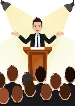 Personagem de desenho animado com empresário trabalhando e presente para área pública em design de vetor de personagem de pódio.