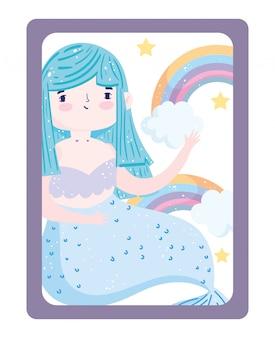 Personagem de desenho animado com estrelas do arco-íris de sereia azul fofa