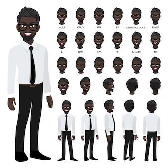 Personagem de desenho animado com homem de negócios americano africano em camisa inteligente para animação.