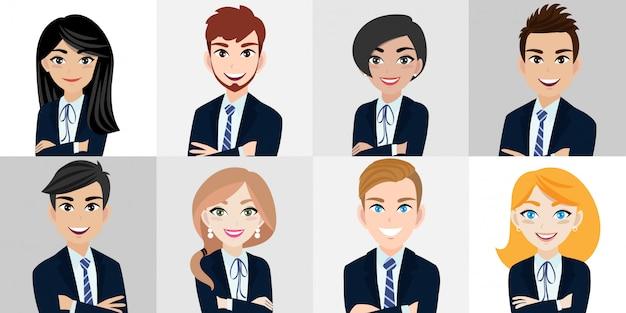 Personagem de desenho animado com homem de negócios e mulher de negócios