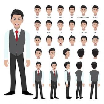 Personagem de desenho animado com homem de negócios em camisa inteligente e colete para animação.