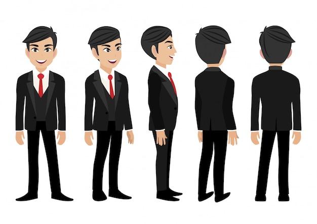 Personagem de desenho animado com homem de negócios.