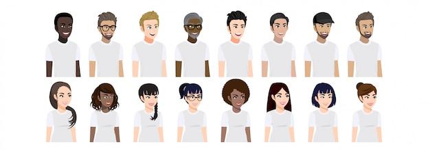 Personagem de desenho animado com homens e mulheres em t-shirt branca casual para pose de exibição 3-4 personagem. conjunto de ilustração plana retrato masculino e feminino.