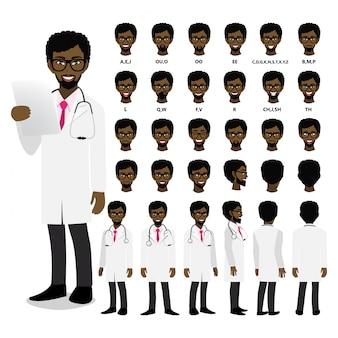 Personagem de desenho animado com médico profissional americano africano em uniforme inteligente para animação. frente, lateral, traseira, 3-4 caracteres de visualização. separe partes do corpo.