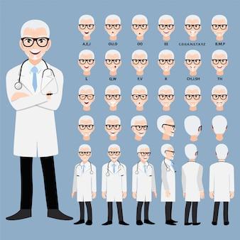 Personagem de desenho animado com médico profissional uniforme inteligente para animação. frente, lateral, traseira, 3-4 caracteres de visualização. separe partes do corpo.