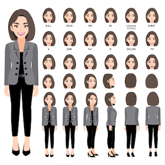Personagem de desenho animado com mulher de negócios em terno para animação. frente, lateral, traseira, 3-4 caracteres de visualização. separe partes do corpo. 330