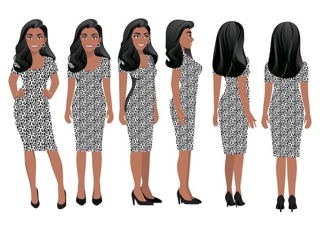 Personagem de desenho animado com mulher de negócios em vestido de estampa de oncinha para animação